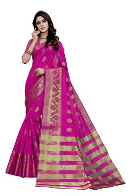 Kimisha Magenta Art Silk Jacquard & Zari Butta Woven Saree With Running Blouse