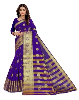 Kimisha Violet Silk Blend Jacquard Woven Saree With Running Blouse