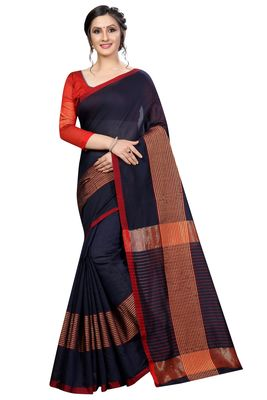 Navy blue plain cotton saree with blouse