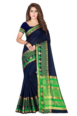 Navy blue plain pure cotton saree with blouse