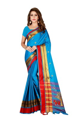 Sky blue embroidered cotton saree with blouse