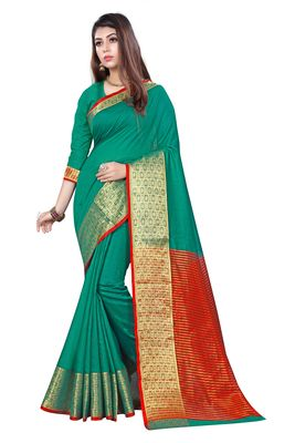 Kimisha Green Cotton Jacquard Border Work Plain Saree With Running Blouse