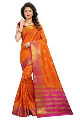 Orange woven nylon saree with blouse