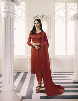 Red self design georgette salwar