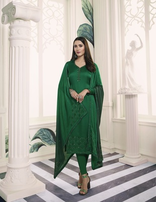 Green self design georgette salwar