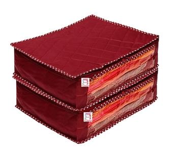 atorakushon® Fabric Saree Cover Garments Cover Bag Clothes Storage Wardrobe Organiser Pack of 2 (Maroon)