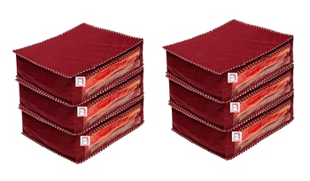 atorakushon® Fabric Saree Cover Garments Cover Bag Clothes Storage Wardrobe Organiser Pack of 6 (Maroon)