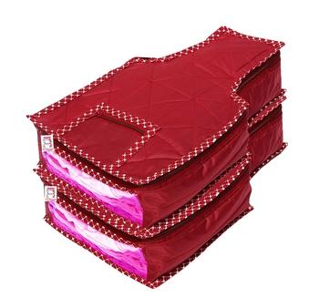 atorakushon® Fabric Blouse Cover Garments Cover Bag Clothes Storage Wardrobe Organiser Pack of 2 (Maroon)