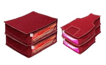 atorakushon® Fabric Saree Cover Blouse Garments Cover Bag Clothes Storage Wardrobe Organiser Set of 4 (Maroon)