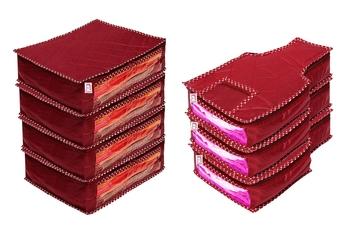 atorakushon® Fabric Saree Cover Blouse Garments Cover Bag Clothes Storage Wardrobe Organiser Set of 7 (Maroon)