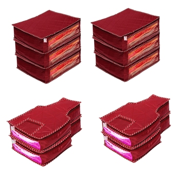 atorakushon® Fabric Saree Cover Blouse Garments Cover Bag Clothes Storage Wardrobe Organiser Set of 10 (Maroon)