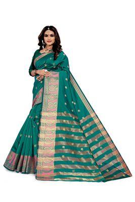Kimisha Rama Silk Blend Boder & Butta Work Jacquard Woven Saree With Running Blouse
