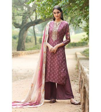 Maroon floral print cotton silk salwar