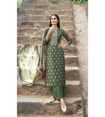 Green floral print cotton silk salwar