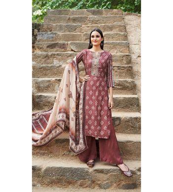 Brown floral print cotton silk salwar
