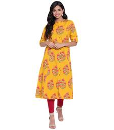 Mustard printed cotton ethnic-kurtis