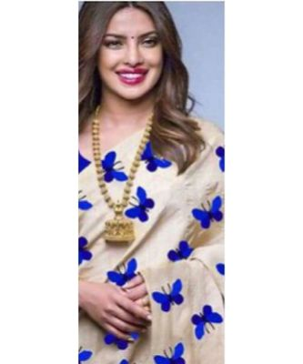 blue Digital printed Zarna Silk Paetywear Bollywood saree with blouse