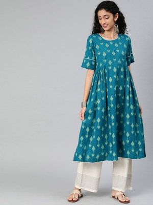 Kimisha Cotton Printed Anarkali Kurta(Turquoise Blue)
