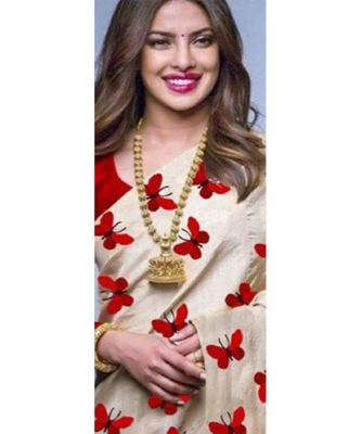 red Digital printed Zarna Silk Paetywear Bollywood saree with blouse