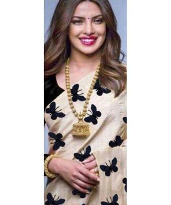 black Digital printed Zarna Silk Paetywear Bollywood saree with blouse
