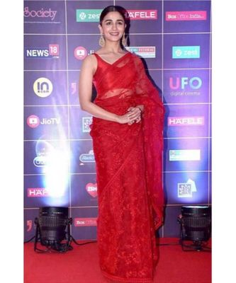 red Embroidery net partywear Bollywood saree with blouse