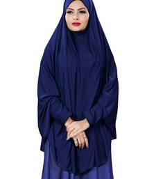 Navy Blue Color Stitched Jersey Cotton Islamic Chaderi Hijab With Veil And Sleeves