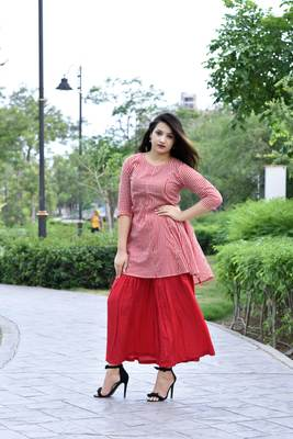 Stylish women Cotton  A-line Kurti With Designer Rayon Sharara Set