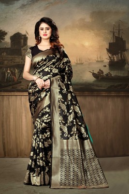 Black Woven Kanjivaram Silk Saree With Blouse