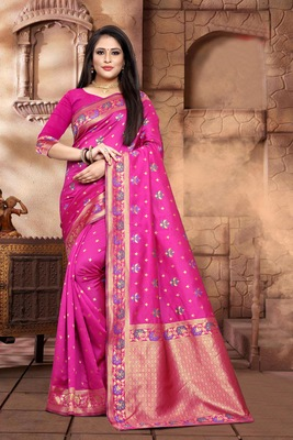 Rani Pink  Woven Kanjivaram Silk Saree With Blouse