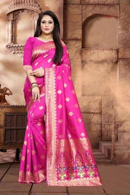 Rani Pink  Woven Kanjivaram Silk Saree With Blouse