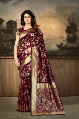 Maroon Woven Kanjivaram Silk Saree With Blouse