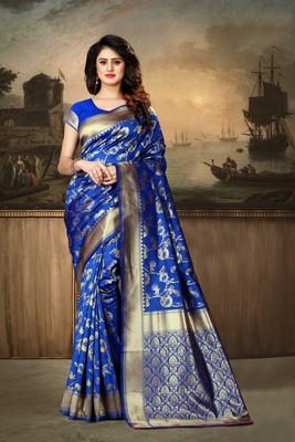 Royal Blue Woven Kanjivaram Silk Saree With Blouse