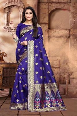 Purple Woven Kanjivaram Silk Saree With Blouse