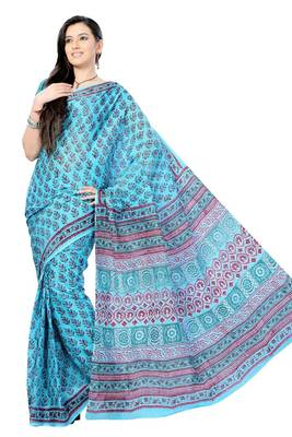 Sky Blue Hand Block Print Cotton Sari
