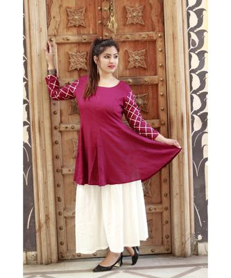Stylish women Rayon A-line Kurti With Designer Rayon Sharara Set