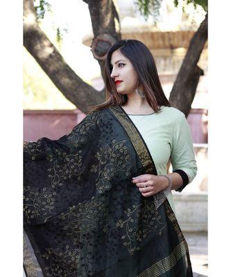 women's long  Cotton  Kurti pillazo with Designer banarsi Duppata