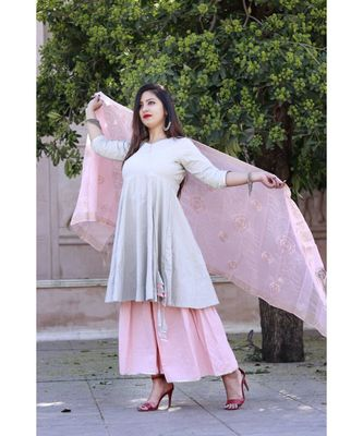 women's long  Cotton  angrakha kurti & pillazo with Designer Heavy  Duppata