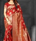Buy Red Woven Kanjivaram Silk Saree With Blouse
