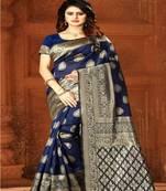 Buy Navy Blue Woven Kanjivaram Silk Saree With Blouse