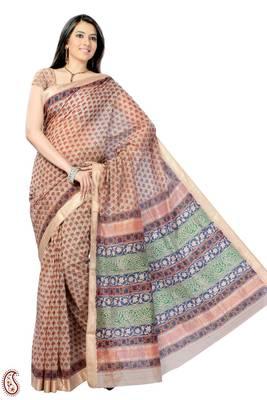 Resham Border Block Print Cotton Silk Sari