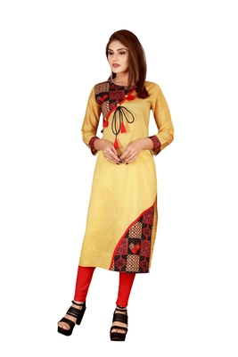 Yellow plain art silk ethnic-kurtis