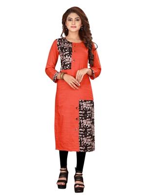 Orange plain art silk ethnic-kurtis