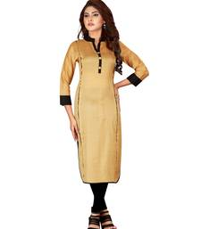 Mustard plain art silk ethnic-kurtis
