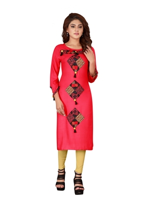 Pink plain art silk ethnic-kurtis