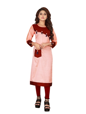 Peach plain art silk ethnic-kurtis