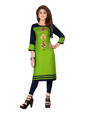 Green plain art silk ethnic-kurtis
