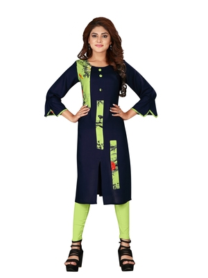 Navy-blue plain art silk ethnic-kurtis