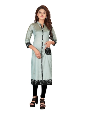 Multicolor plain art silk ethnic-kurtis