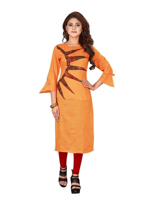 Orange plain art silk ethnic-kurtis
