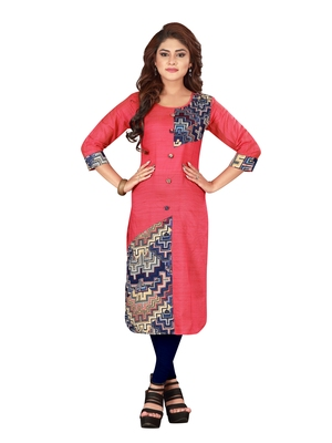 Pink plain art silk ethnic-kurtis
